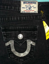 """27 x 33 """" Pre-Owned TRUE RELIGION $253 BLACK STRAIGHT SILVER SEQUIN JEANS"""