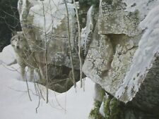 Robert Bateman Art Print Silent Witness Winter Wolf Akita Malamute Wild Dog 1999