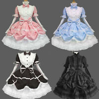 Women Classic Cotton Long Sleeve Tiered One Piece Gothic Sweet Lolita Bows Dress