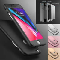 360° Protective Thin Case Cover Tempered Glass For Apple iPhone 6 6S 7 8 Plus X