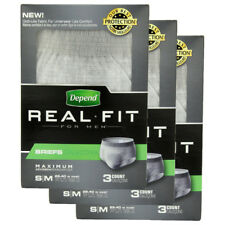 9ct Men's Depend Real Fit Incontinence Maximum Absorbency Briefs S/M Underwear