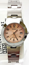 Casio Ladies Peach Analog Steel Band with Date Display Watch LTP-1241D-4A3 New