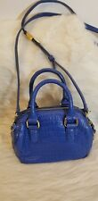 G.I.L.I.BLUE LEATHER CROSSBODY DOUBLE STRAP HANDBAG TRAVEL PURSE
