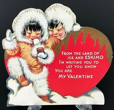 Eskimo Valentines Card Greeting Native Caribou Fur Clothes Vtg Antique 1940s