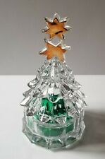 """MIKASA CLEAR CRYSTAL GLASS 7"""" CHRISTMAS TREE CANDY DISH - 2 GOLD STARS ON TOP"""