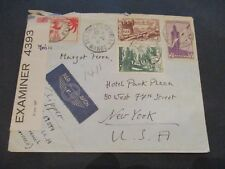 1941 Fez Morocco to New York USA Multi Franking Censorship Airmail Cover