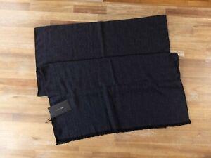 $435 BOTTEGA VENETA drak gray black lightweight wool silk cashmere blend scarf