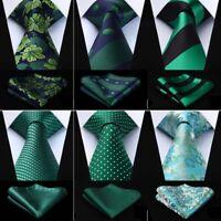 29 Style Mens Silk Ties Blue Green Floral Paisley Check Necktie Handkerchief Set