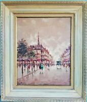 Vintage Signed Oil Painting French Street Scene on Canvas France