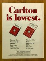 1981 Carlton Cigarettes Vintage Print Ad/Poster Pop Art Retro Man Cave Decor