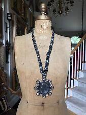 """NEW LANVIN PARIS BLUE IRIDESCENT STONE Long Necklace 30""""  $2,300"""