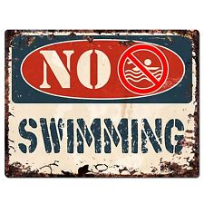 PP1367 NO SWIMMING Plate Rustic Chic Sign Home Store Shop Decor Gift