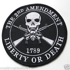 2nd Amendment Liberty or Death Extra Large Embroidered Jacket Patch 12 inches