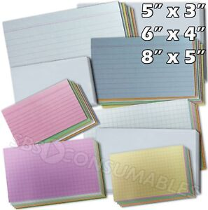 100x Record Cards - Lined, Squared or Plain. Index/Flash Cards 5x3, 6x4 or 8x5