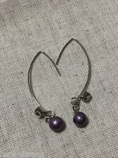 New Handmade Black Cotton Pearl Design Drop Dangle Hook Style Fashion Earring