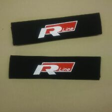 VW Rline seat belt pads with embroidered logo.