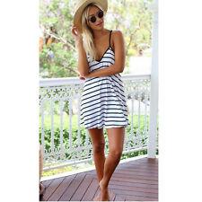 Summer Party Dress Sleeveless Stripe Pattern Cocktail Casual Evening Dress XL