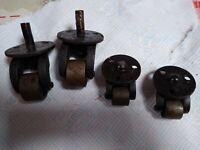 Antique Metal Castors heavy duty approx 1.5 kilo set 2 smaller 2 larger set of 4