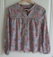 J Crew Liberty Art Fabrics Womens Pink Paisley Cotton Popover Shirt Top Size XS