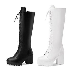 Women Round Toe Mid Calf Knee High Riding Boots Western Low Heel Shoes Outdoor D