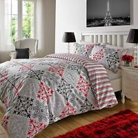 Duvet Cover Sets With Pillowcases Luxury Bedding  Black/Red Reversible All Sizes