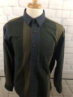RARE Vintage Nautica Button Front Flannel Wool Shirt Striped Size Large L DSC2