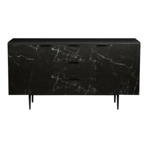 """63"""" L Sideboard Marbled Black Ceramic Cabinetry Solid Aluminum Legs Modern"""