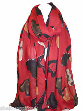 Ladies Women Love Heart And Circle Print RED Multi Colour Scarf Pashmina