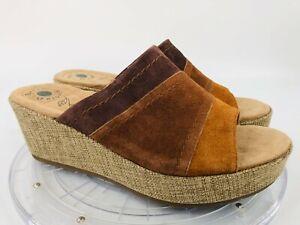 Earth Origins Myra Women's 10 M Brown & Tan Suede Slip On Wedge Sandals