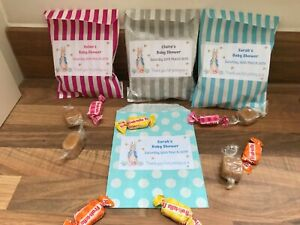 Personalised Peter Rabbit Baby Shower Sweet Bags Pink/Blue/Silver Favour Treat