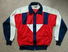 Vintage 80's Nike Athletic Jacket Satin Long Sleeve Zip Up Size Medium Men's