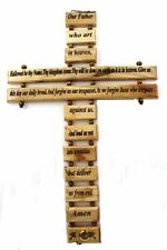 "Wall Cross Lord's Prayer Olive Wood Christian Gift Our Father Prayer 18"" Large"