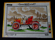"""Vintage RARE Margot of Paris """" OLD FORD """" Needlepoint 13"""" x 9"""" Canvas"""