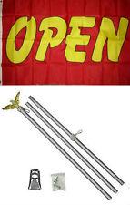 3x5 Advertising Open Red Yellow Flag Aluminum Pole Kit Set 3'x5'