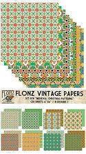 "Paper 24sh 6""x6""# Medieval Christmas Petterns # Flonz 074 Craft Scrapbooking"