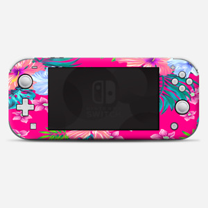 Skins Decals wrap for Nintendo Switch Lite - Pink Neon Hibiscus Flowers