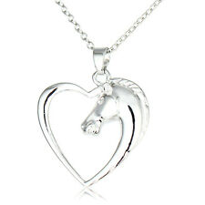 Charm Heart Horse Animal Silver Pendant Necklace Women Girl Jewelry Party Choker