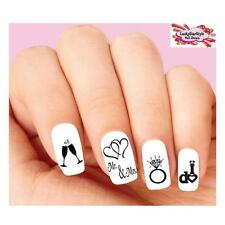 Waterslide Nail Decals Set of 20 -Wedding, Ring, Heart, I do Silhouette Assorted