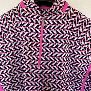 Tail White Label Multicolor Artsy/Geometric Print 1/2 Sleeve 1/4 Zip Top Sz M