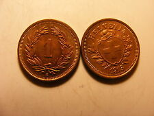 Switzerland 1 Rappen, 1913, CHOICE BRILLIANT FULL RED UNCIRCULATED