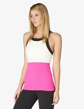 NWT $110 S BEYOND YOGA x KATE SPADE Blocked Band Racerback Tank Pink Cream Black
