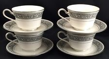 4 Sets Noritake Prelude Ivory China Teacups with Saucers Black Scroll Platinum