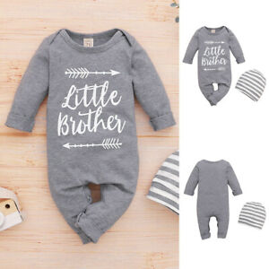 UK Newborn Baby Boys Little Brother Long Sleeve Romper Jumpsuit +Hat Outfits Set