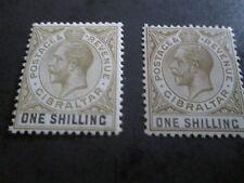 GIBRALTAR 1925-32 1sh Sage green & black SG 102 Olive & black SG 102a  mm