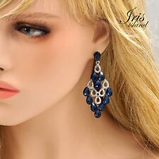 Chandelier Drop Dangle Earrings 346 Prom Rhodium Plated Indigo Dark Blue Crystal
