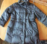 J. Jill Black Down Puffer Snap Button Coat Jacket Size Medium Winter coat black