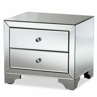 Hawthorne Collection Mirrored 2 Drawer Nightstand in Silver