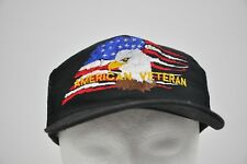 Vintage AMERICAN VETERAN Embroidered US FLAG Bald Eagle Black SNAPBACK Cap Hat