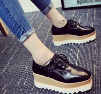 Ladies Mid Heel Shoes Square Toe Lace Up Platform Wedge Creeper Oxfords