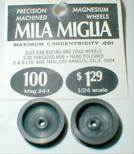 1 pair Large Smooth Magnesium Wheels by MILA MIGLIA #100 1960's slot car NOS